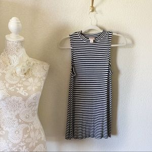 Mossimo Black and White Striped High Neck Tank Top